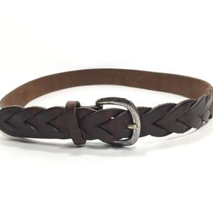 Vintage The Limited Brown Leather Braided Belt